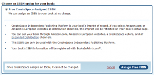 Choose Free ISBN number from CreateSpace