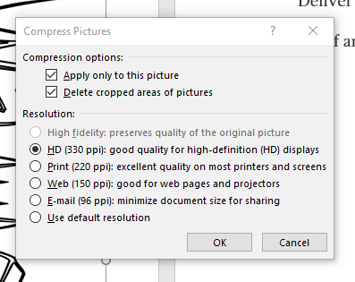 Dialogue box Compress pictures MS Word 2016